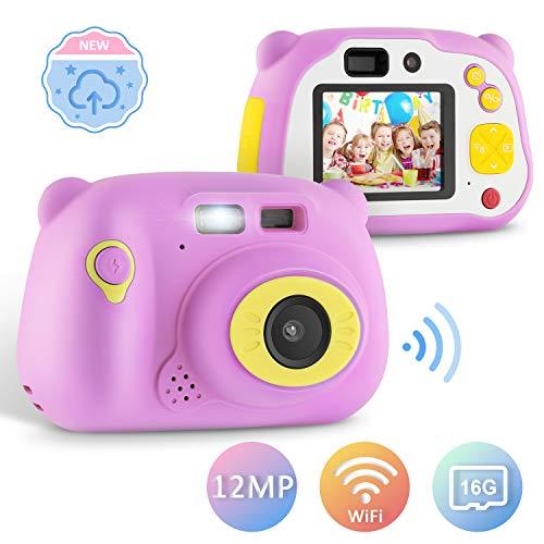 yissvic macchina fotografica per bambini macchina fotografica portatile viaggio fotocamera bambini, hd 1080p / 12mp / lcd da 2 pollici/con scheda sd da 16 gb,regalo ragazza ragazzo (rosa)