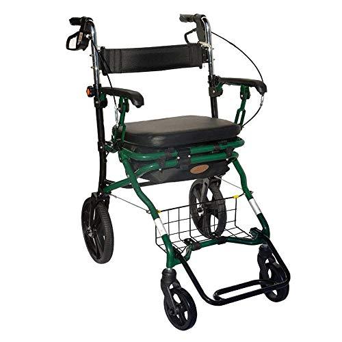 YOUXD Aluminiumlegierung Klappbare 4-Rad-Rollator-Gehhilfe Mit Sitz Und Abnehmbarem Tragekoffer, Höhenverstellbar Begrenzte Mobile Hilfe Für Ältere Menschen Mit Behinderungen