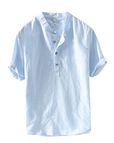 Uomo camicia in lino senza collo casual leggero camicia maniche corte pullover azzurro xl