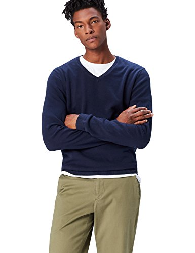 Find pullover con scollo a v uomo, blu (navy), medium