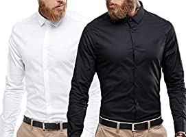 Essential Formal Shirt For Men's Combo Pack of 2 - White and Black