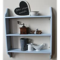 Three tier wall shelf, pale blue, 6 sizes available