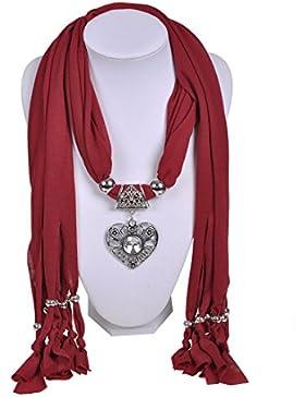 Wishcart® Peach cuore ciondolo collana gioielli donne sciarpe sciarpa