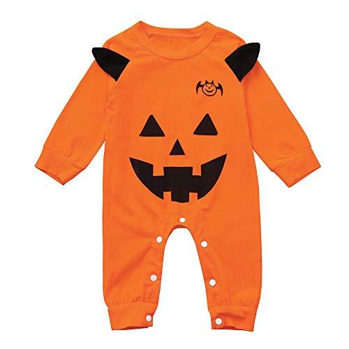 Zarupeng Neugeborenen Baby Halloween Strampler Langarm Rundhalsausschnitt Overall Mädchen Jungen Kürbis Druck Bodysuit Outfits