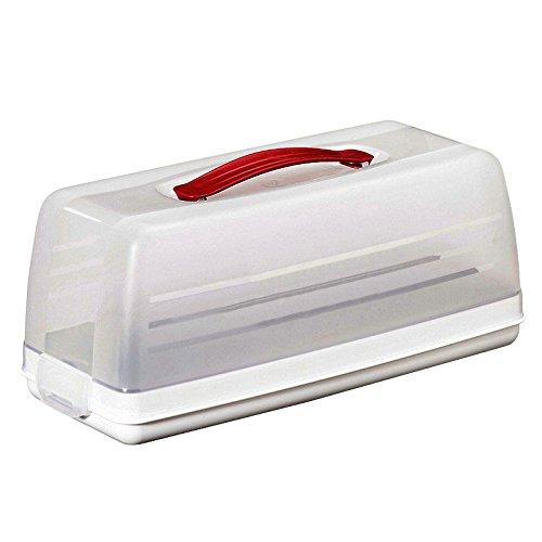CURVER 00414-129-00 Transportglocke für Königskuchen, transparent/weiß