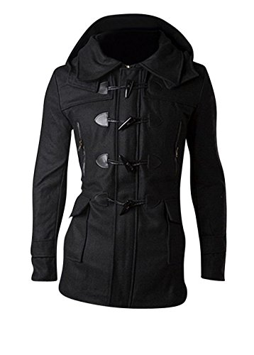 Jeansian Hommes Manteau Classic Fashion Hoodie Manches Longues Coat Jacket 9116 Black