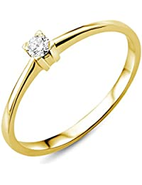 Miore Ring Damen Solitär Verlobungsring Gelbgold 18 Karat / 750 Gold Diamant Brilliant 0.07 ct