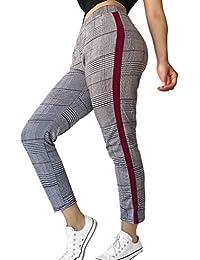 Yunhou Damen Streifen Beiläufig Hosen Elastizität Skinny Jeans Mode Plaid Bleistift Hosen Lose Neun Hosen Elastische Taille mit Taschen Kleine Füße Hosen S-5Xl