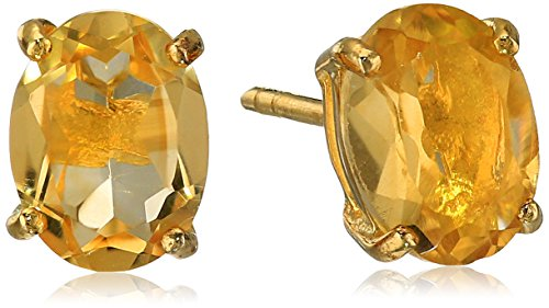 Amazon Gold Plated Sterling Silver 8x6mm Oval Citrine Earrings