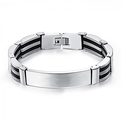 personliased-stahl-und-schwarz-id-armband-mit-gratis-gravur-und-geschenkbox-205mm