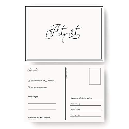 (100 x) Antwortkarte Hochzeit Hochzeitskarten Antwort Postkarte Einladung - Schlicht