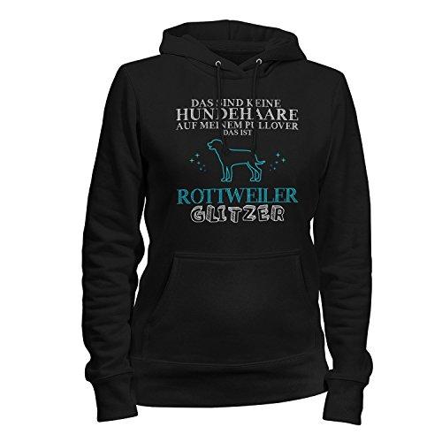Rottweiler Pullover (Fashionalarm Damen Kapuzen Pullover - Das sind keine Hundehaare - Rottweiler Glitzer | Fun Hoodie mit Spruch lustige Geschenk Idee Hunde Besitzer, Farbe:schwarz;Größe:M)