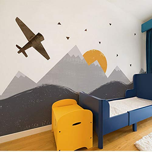 Fototapeten Moderne Wanddeko Berg Flugzeug 3D Cartoon Tapete 3D Wand Fototapeten Für Kind Baby Zimmer Große Papel Wandbild 3D Wandbild Aufkleber, 300 Cm * 210 Cm