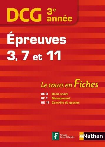 DCG 3me anne - Epreuves 3, 7 et 11