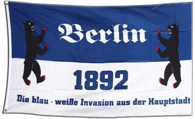 Flagge Fanflagge Berlin - die blau weisse Invasion aus der Hauptstadt - 90 x 150 cm