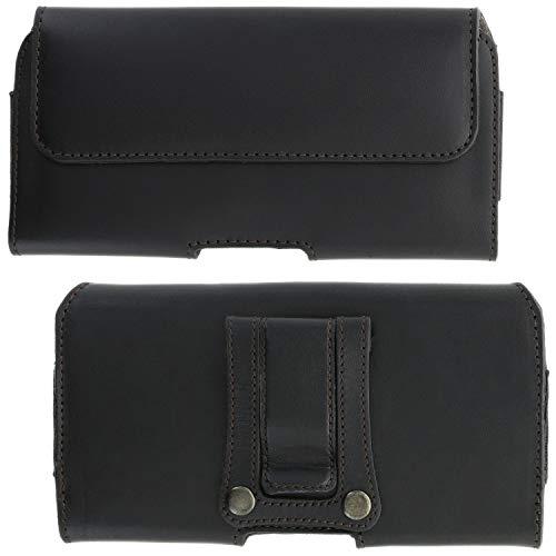 XiRRiX Leder Handy Tasche 5.0 mit Gürtelclip - 5XL passend für Samsung Galaxy A7 / A9 2018 / A70 / Motorola Moto G7 Power/One Vision - schwarz