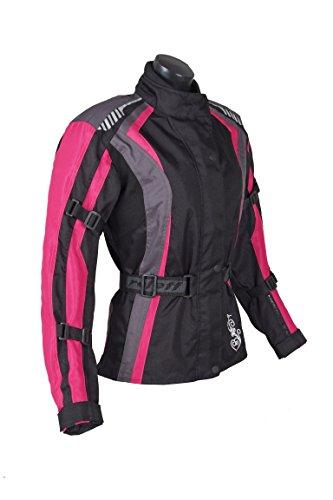 *Roleff Racewear Damen Textil Motorradjacke mit Protektoren, Gute Belüftung, Taillierter Schnitt, Schwarz, Pink , Größe XL*