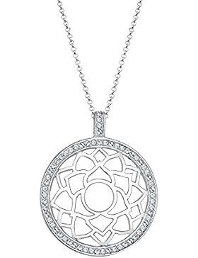Elli Premium Damen-Kette mit Anhänger Chakra Hindu 925 rhodiniert Swarovski Kristall silber Brillantschliff