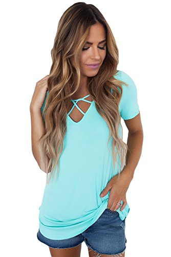 Fronten Käfig (New Acid Blue Soft Käfig Front kurz Ärmel Top Bluse Party Wear Shirt Top Casual Wear Sommer Größe S)