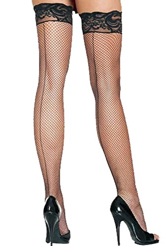Sexy Damen Schwarz Lace Top Fishnet Strümpfe mit Naht hinten Oberschenkel hohe, Schwarz - Industrial Net Strumpfhosen