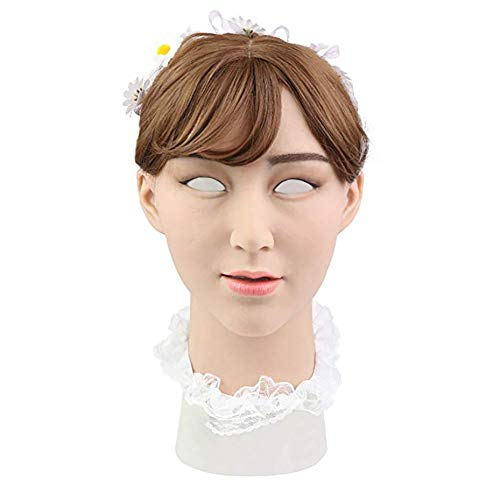 Lovper Handgemachte weibliche realistische Silikon Kopf Maske America Girl für Crossdresser Transgender Kostüme Drag Queen (Augapfel Kopf Kostüm)