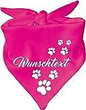 KLEINER FRATZ Hunde Dreiecks Halstuch (Fb: pink) (Gr. 1 (55 cm)) mit Ihrem Wunschtext