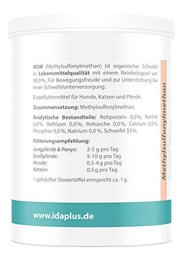 Ida Plus MSM Pulver für Pferde,Ponys, Hunde und Katzen – 600 g – Schwefel – Methylsulfonylmethan – organischer Schwefel in Lebensmittelqualität für Bewegungsfreude – Reinheitsgrad von 99,9%