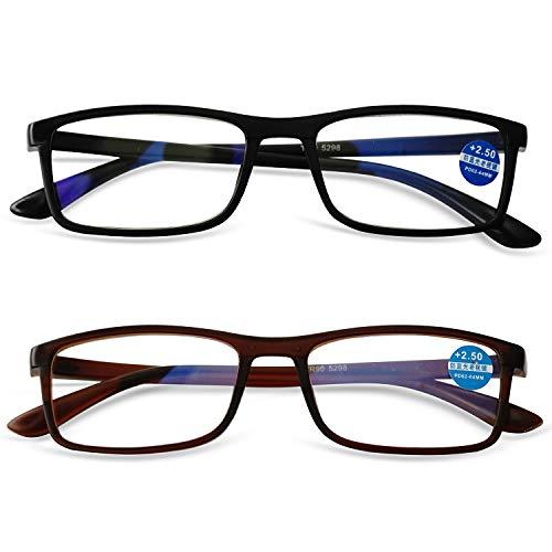 KOOSUFA TR90 Lesebrille Anti-Blaulicht Computer Sehhilfe Lesehilfe Rechteckig Leicht Vollrandbrille Nerdbrille für Herren Damen von 1,0 1,5 2,0 2,5 3,0 3,5 4,0 (2 Farben Set, 3.0)