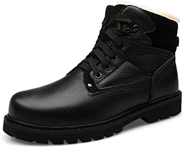ZQ@QXCálido invierno zapatos de cuero de alta botas de nieve botas de Martin ayuda zapatos de algodón para hombres...