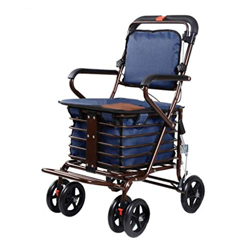 PNYGJZXQ Andador con asiento con ruedas, carritos de compra: carro de compras de cuatro ruedas for ancianos, andador con asientos...
