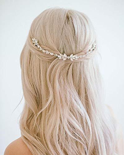 Simsly - Silberfarbener Reben-Haarschmuck für Frauen und Mädchen, perfekt als Brautschmuck