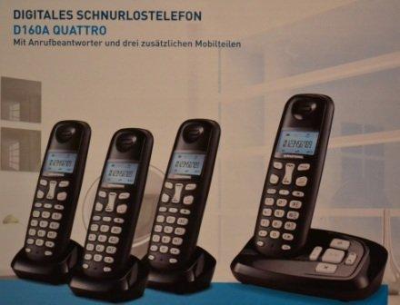 Grundig D160A Quattro DECT Schnurlostelefon mit Anrufbeantworter schwarz