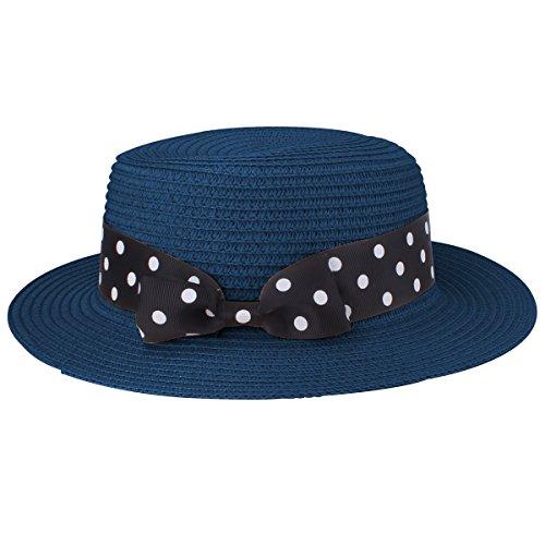 YOPINDO Boater Hat Sombrero de paja para mujer Bowknot Round Flat Top Brim Sombrero de paja Summer Beach Sun Cap (9206 Armada)