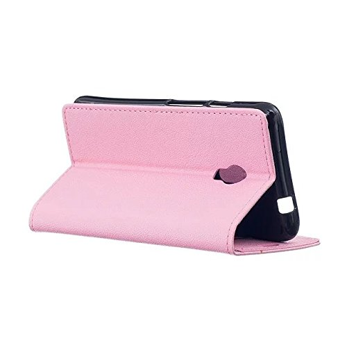 JIALUN-Telefon Fall Solid Color Kasi Texture PU Ledertasche Cover Flip Stand Case Geldbörse mit Card Cash Slots für Alcatel PIXI 4 5.0 ( Color : White , Size : Alcatel PIXI 4 5.0 ) Pink