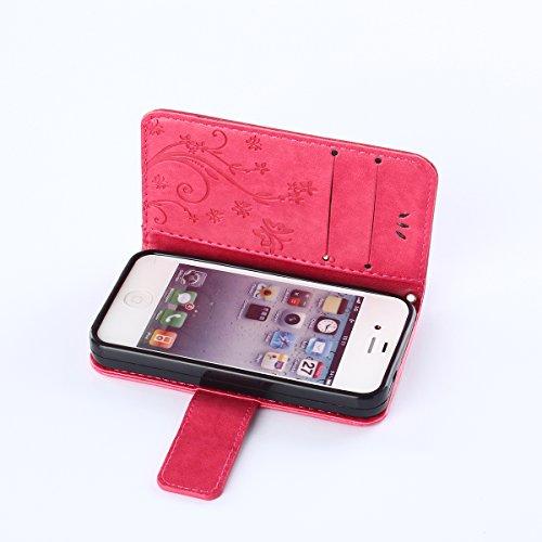 COOLKE papillon Imprimer étui en cuir PU Cuir Flip Magnétique Portefeuille Etui Housse de Protection Coque Étui Case Cover Support Avec des Cartes de Crédit Slot et Fonction Support pour Apple iPhone  Hot Pink