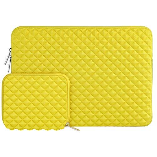 MOSISO Sleeve Hülle Kompatibel mit 13-13,3 Zoll MacBook Air, MacBook Pro, Notebook Computer mit Klein Fall, Wasserabweisend Neopren stoßfest Diamant-Muster Schaumpolsterung Laptoptasche, Gelb