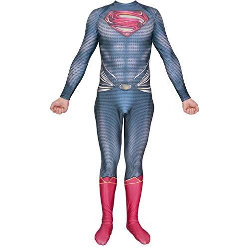 QWEASZER Mann aus Stahl, Superman Superheld Kostüm Zentai Onesie Kleidung Outfit Halloween Lycra Cosplay Bodysuit Film Kostüme - Superman Kostüm Für Den Mann Aus Stahl