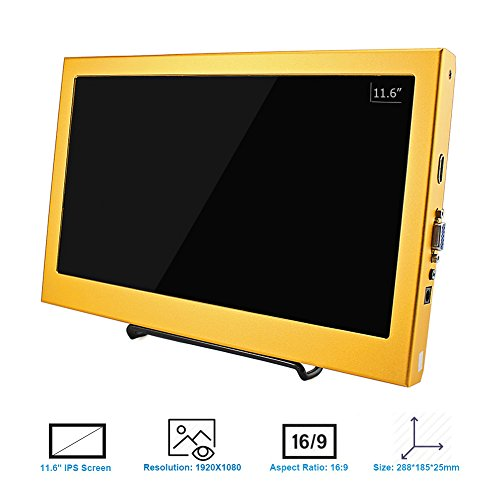 Monitor display screen exhibit for Raspberry Pi 2B B Raspberry Pi 3B Windows 7 8 10 116 Inch 1920X1080 HDMI PS3 PS4WiiU Xbox360 1080P Gold from Elecrow Monitors