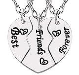 Tre collane Best Friends Forever - BFF - Cuore - Diviso - Spezzato - per 3 - X 3 - Migliori Amiche - Idea Regalo Originale - Natale - Compleanno - Gioielli - Colore Argento
