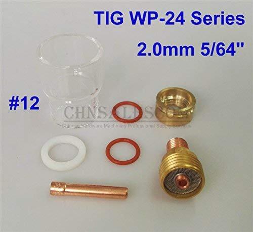 Welding Equipment CHNsalescom 7 pcs Tig Welding 12# 42mm Pyrex Glass Gas Lens Kit for WP-24 Series 2.0mm 5/64