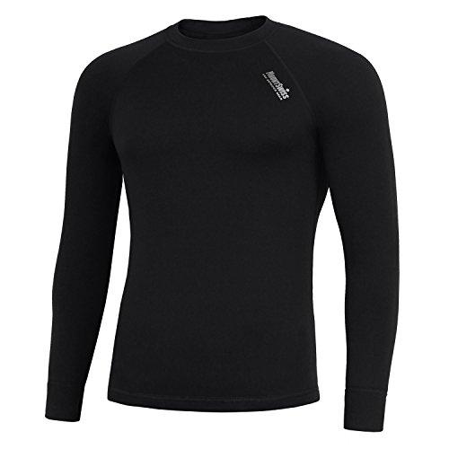 Mount Swiss Herren Thermowäsche Shirt, Davos, Black/Silver, Gr. M/Thermo-Unterwäsche Langarm Unterhemd Funktionsunterwäsche Thermoaktiv