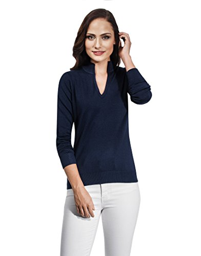 VB Pullover da donna con scollo a V e colletto alto Dark Blue X-Small
