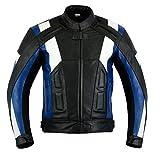 Texpeed - Herren Motorradjacke mit Protektoren - Leder - Blau & Weiß - L - 106.68cm