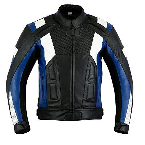 Texpeed - Herren Motorradjacke mit Protektoren - Leder - Blau & Weiß - L - 106.68cm (Jacke Leder Herren Weiß)