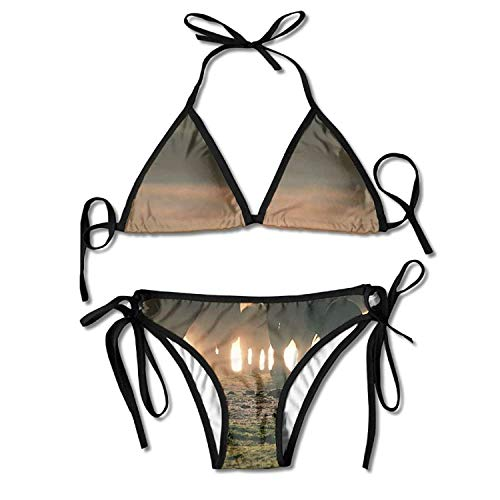 Bandeau Bikini Set Neckholder Top Tie-Tanga Triangel STRASS XL 40 US 10 UK 14