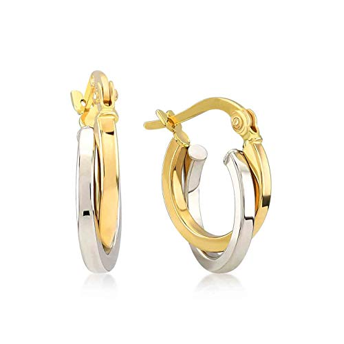 Damen Ohrringe 14 Karat - 585 Echtgold, Creolen, Ohrstecker mit zwei verschlungenen Kreisen - Gelbgold, Außendurchmesser 13 mm, Gewicht 1.40 gr Geschenk für Valentinstag Geburstag