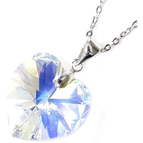 Queenberry - Collana a catena con ciondolo di cristallo Swarovski a forma di cuore, lunghezza della catena regolabile: da 40 cm a 45 cm circa