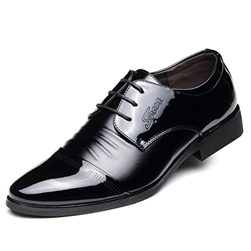 Grrong Homens Sapatos De Couro De Negócios Lazer Apontou Genuína Preta Preta
