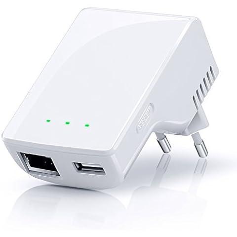 CSL - Repeater 300 Mbit WiFi / WLAN Access Point | amplificador WLAN | frecuencia de 2,4 GHz | 3 modos de servicio (repetidor, punto de acceso, cliente) | asignación de IP por DHCP | Tecla WPS (Wi-Fi Protected Setup) | cifrado WEP, WPA,