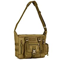 Military Shoulder Bag Large Water Resistant Daypack with Molle 14 Inch Laptop Crossbody Messenger Bag for Hunting Camping Trekking Men Women (Brown)